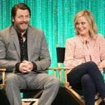 "Nick Offerman and Amy Poehler at a 2014 Hollywood event honoring ""Parks and Recreation."""